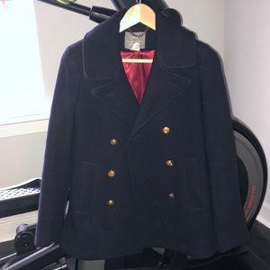 J. Crew Stadium Cloth Pea Coat Navy EUC